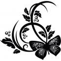 Naklejka motyl i roślina