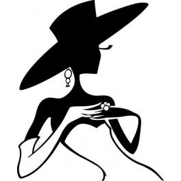 Naklejka dama w kapeluszu nr 662